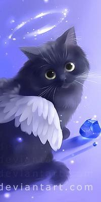 Аватар вконтакте Кот с крылышками ангела, со светящимся нимбом над головой, с лежащим рядом синим кристаллом, автор Apofiss