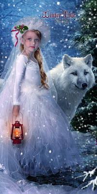Аватар вконтакте Девочка с длинной косой, одетая в платье невесты, держащая в руке зажженный фонарь, стоящая рядом с белым волком на фоне падающего снега (Winter tale / Зимняя сказка)
