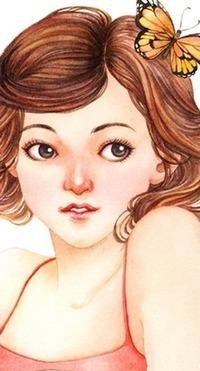 Аватар вконтакте Девушка с бабочкой на волосах