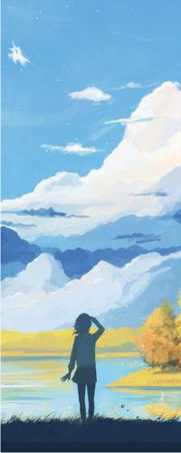 Аватар вконтакте Девушка стоит около воды на фоне снежных гор и неба, art by arsenixc