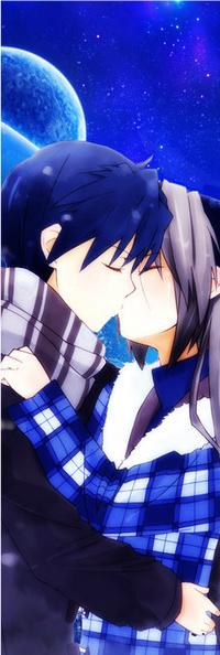 Аватар вконтакте Мужчина и девушка целуются на фоне планет в ночном небе