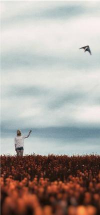 Аватар вконтакте Девушка стоит в поле цветов с воздушным змеем