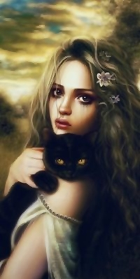 Аватар вконтакте Девушка держит на руках черного кота