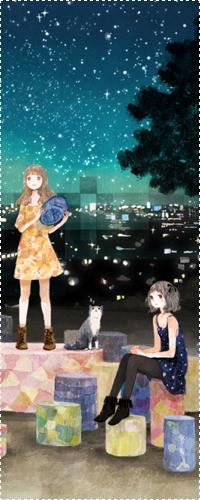99px.ru аватар Две девочки стоят на разноцветных камнях и смотрят на звезды, рядом сидит кот, позади города ночью
