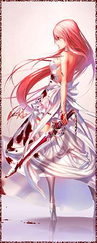 Аватар вконтакте Девушка с длинными розовыми волосами в белом платье, замазанном кровью, держит в руке окровавленный меч
