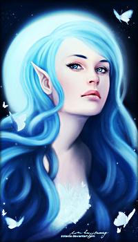 Аватар вконтакте Девушка - эльф на фоне луны, вокруг нее летают бабочки, художник Zolaida
