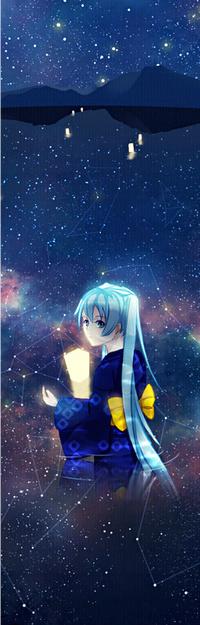Аватар вконтакте Vocaloid Hatsune Miku / Вокалоид Хатсуне Мику с фонариком в руке стоит в воде на фоне гор и ночного неба