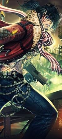 Аватар вконтакте Парень-брюнет с татуировкой на лице и сигаретой в зубах бежит, держа пистолет в руках, арт от xaxak