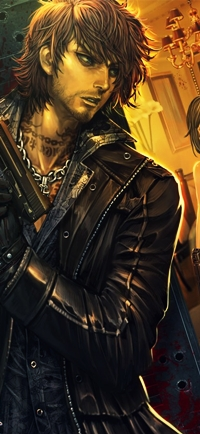 Аватар вконтакте Парень с татуированной шеей и пистолетом в руках, арт от xaxak