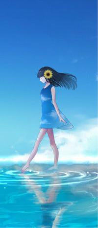Аватар вконтакте Девушка с цветком в волосах идет по водной глади на фоне голубого неба