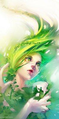 Аватар вконтакте Девушка с зелеными волосами и зелеными глазами в растениях, art by Yuumei