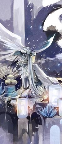 Аватар вконтакте Девушка играет на лютне посреди фонариков, арт от Hanyijie
