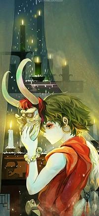 Аватар вконтакте Парень прикрывает лицо рогатой маской демона, арт от Hanyijie