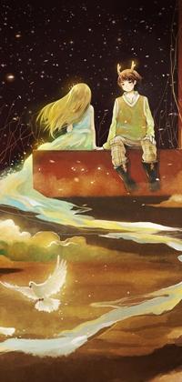 Аватар вконтакте Парень сидит рядом с девушкой, шлейф платья которой переходит в реку, над которой летает голубь, арт от Hanyijie