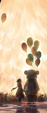 99px.ru аватар Девушка и мишка с шариками смотрят на яркую елку, арт от Hanyijie