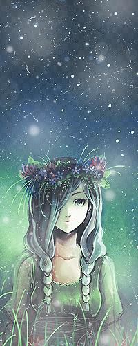 Аватар вконтакте Девушка с венком на голове стоит на фоне ночного неба