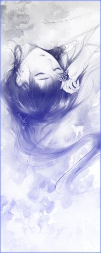 Аватар вконтакте Синеволосая девушка лежит с закрытыми глазами, держа руку с бабочкой у лба