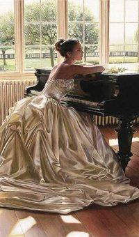 99px.ru аватар Рисунок, на котором изображена девушка в пышном платье возле рояля