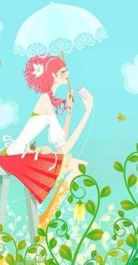 Аватар вконтакте Девушка сидит на стуле в саду цветов, держа в руках чашку и зонтик, а на коленях у нее лежит кошка