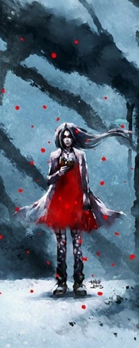 Аватар вконтакте Девушка в красном платье читает книгу стоя на фоне темного леса