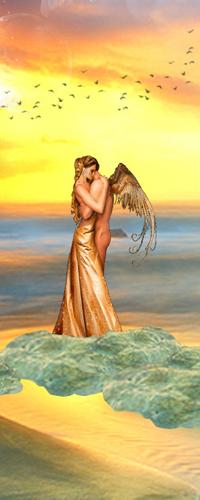 Аватар вконтакте Девушка в платье стоит в обнимку с мужчиной - ангелом на камнях около моря, на фоне пролетающих в оранжевом небе птиц