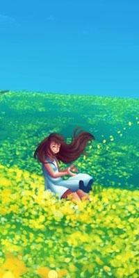 Аватар вконтакте Девочка на цветочной поляне под голубым небом