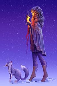 Аватар вконтакте Девушка идет ночью на цыпочках босиком по снегу с лисой, прикрывая ладонью горящую свечу, by Wild Dreamer