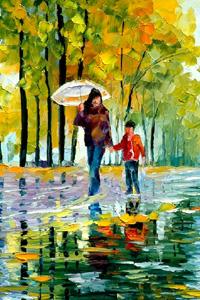 Аватар вконтакте Девушка с ребенком идет по мокрой, усыпанной осенними листьями дороге, художник Леонид Афремов