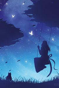 Аватар вконтакте Девушка на качелях и кошка, сидящая в траве, на фоне ночного неба