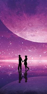 Аватар вконтакте Парень и девушка идут по воде на фоне ночного звездного неба