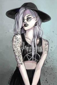 Аватар вконтакте Девушка в татуировках, в черной шляпе и с сигаретой во рту