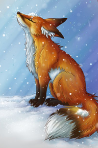 Аватар вконтакте Лиса сидит на снегу