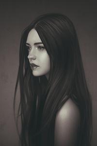 Рисунок девушка с распущенными волосами