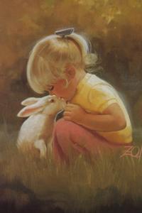 Аватар вконтакте Маленькая девочка с кроликом сидит в траве