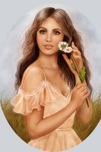 Аватар вконтакте Девушка с цветком на фоне неба