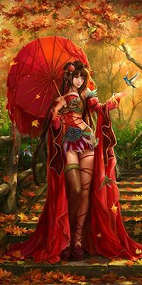 Аватар вконтакте Девушка в красной накидке, с розой в волосах и под красным зонтом, идет по лестнице, усыпанной желто-красными листьями осеннего сада, протянув руку подлетевшей птичке