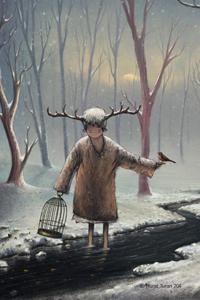 Аватар вконтакте Мальчик стоит в реке в окружении снега с клеткой в одной руке и с птицей в другой, by Murat Turan