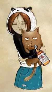 Аватар вконтакте Девушка обнимает кота, который держит в лапах бутылку со спиртным и сигарету во рту
