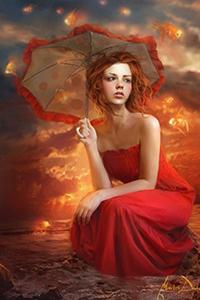 Аватар вконтакте На закате солнца, рыжая девушка в красном платье с летним зонтиком в руке сидит в морском прибое, в воздухе вокруг девушки плавают золотые рыбки, художник Marta Dahlig