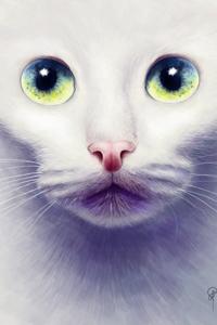 Аватар вконтакте Белая кошка с зелеными глазами