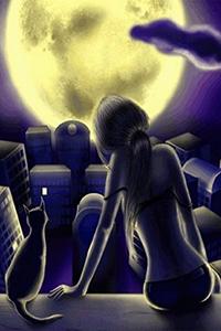 Аватар вконтакте В ночь полнолуния девушка и кошечка сидят на крыше
