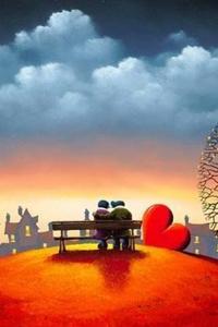 Аватар вконтакте Мужчина с девушкой сидят на скамьем любуясь городом, рядом лежит красное сердце, by David Renshaw