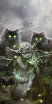 Аватар вконтакте Скульптура ангелочка с мистическим шаром над ладонью в окружении кошек со сверкающими зеленым блеском глазами, by fhelalr