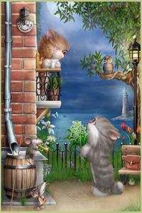 Аватар вконтакте Лунной ночью котик с букетом ландышей поет серенаду под балконом кошечки в присутствии совы, крыски и мыши, художник Алексей Долотов