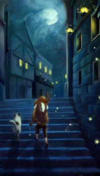 Аватар вконтакте Девушка с кошкой идут по лестнице ночного города, by Melani Sie