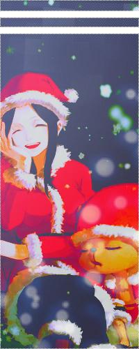 Аватар вконтакте Нико Робин улыбается и Тони Тони Чоппер спит в новогодних костюмах из аниме Ван-пис / Nico Robin and Toni Toni Chopper / anime One Piece