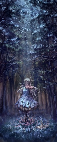 99px.ru аватар Девушка в соломенном платье стоя посреди леса, среди деревьев и цветов, играет на скрипке музыку зачарованного леса