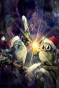 Аватар вконтакте Совы в праздничных колпаках отмечают Новый год