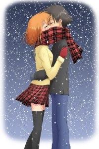 Аватар вконтакте Парень и девушка стоят, обнявшись, под снегом