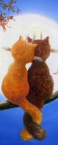 Аватар вконтакте Кот и кошка сидят на ветке дерева и смотрят на луну